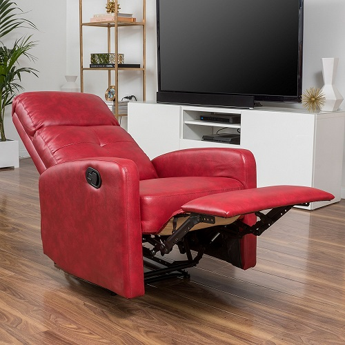 recliners for small spaces - Teyana Red Leather