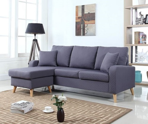 Small Spaces Configurable Sectional Sofa - Mid Century Modern Linen Fabric