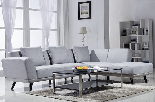 Small Spaces Configurable Sectional Sofa   Mid Century Modern Linen