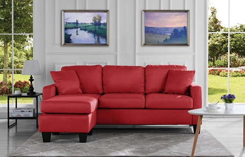 Small Spaces Configurable Sectional Sofa - Modern Linen Fabric Sectional Sofa Red