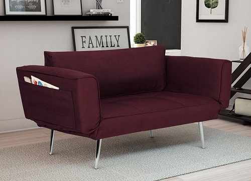 modern loveseat for small spaces - DHP Euro Sofa Futon Loveseat