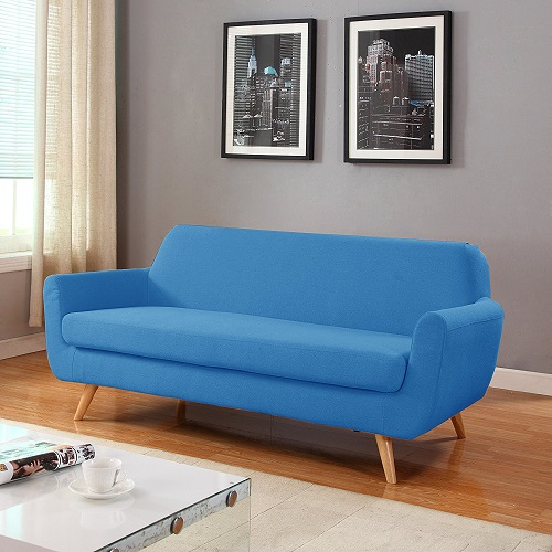 modern loveseat for small spaces - Mid Century Colorful Linen Loveseat
