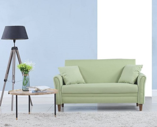 modern loveseat for small spaces - Modern 2 Tone Small Space Linen Fabric Loveseat