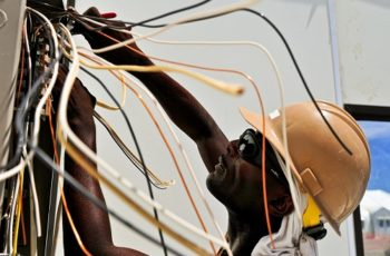 electrician working on wires