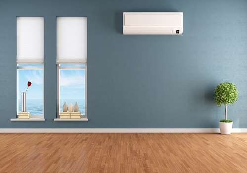 air conditioner in a blue room