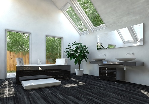 Elegant Black Flooring Living Room