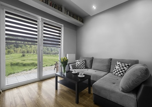 modern living room with window blinds