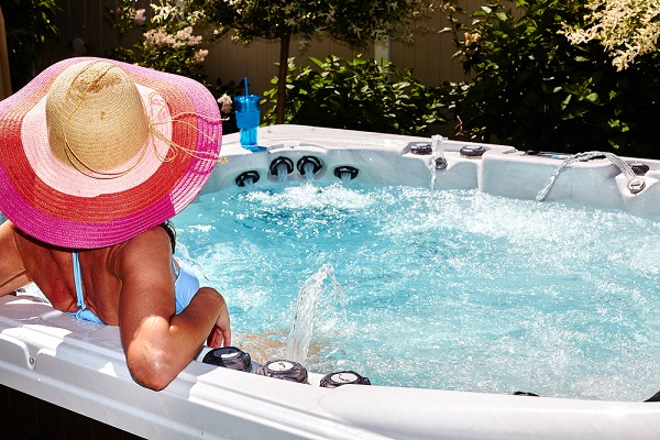 woman relaxing on hot tub