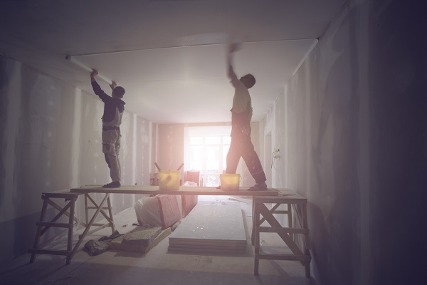 workers working on ceiling