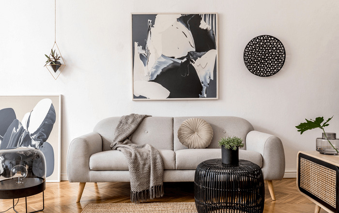 modern living room with abstract wall painting