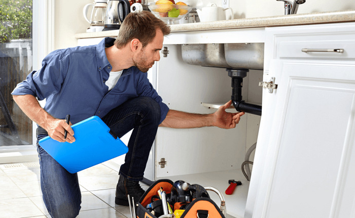 plumber inspecting pipes
