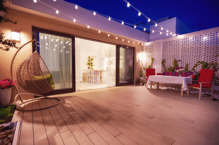 outdoor space with lights