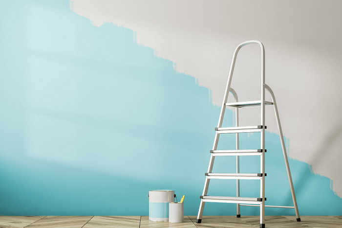painting wall light blue