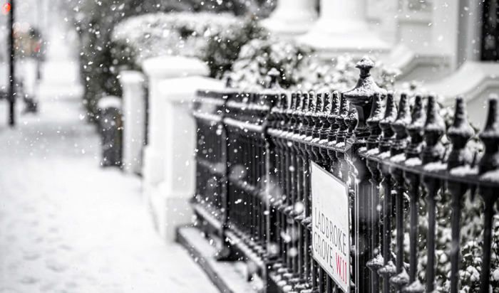 snow in fence